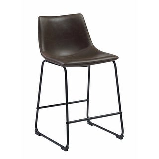 Transitional Contoured Counter Height Stool, Dark Brown, Set of 2