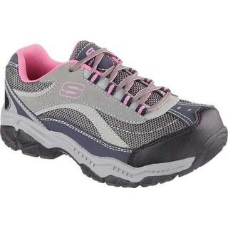 Skechers Women's Work Relaxed Fit Doyline Steel Toe Sneaker Gray/Pink