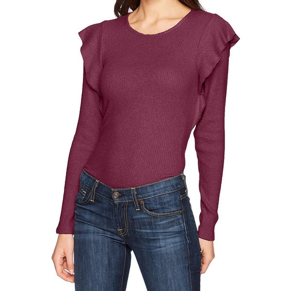 Lucky Brand Womens Medium Ribbed Ruffle Scoop Neck Knit Top