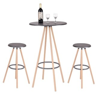 Costway 3 Piece Bar Table Set w/ 2 Stools Bistro Pub Kitchen Dining Furniture Indoor