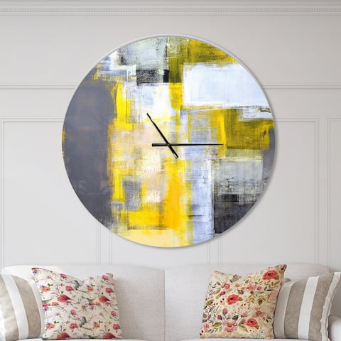 Designart 'Grey and Yellow Blur Abstract' Oversized Modern Wall CLock