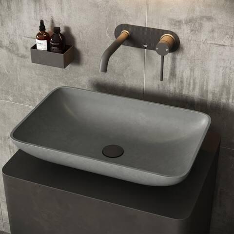 "VIGO Concreto Stone Composite 22 in. Rectangular Bathroom Vessel Sink in Gray - 22.25""L x 14.5625""W x 4.75""H"