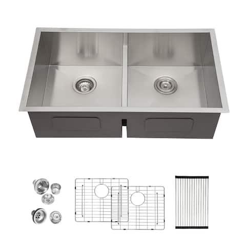 "Lordear 28"" Undermount 16 Gauge Stainless Steel Low Divide Double Bowl Kitchen Sink - 50/50"