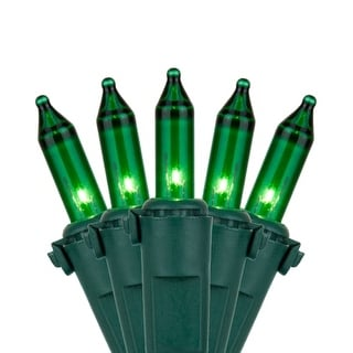 """Wintergreen Lighting 17568 25.5' Long Outdoor Premium 50 Mini Light Holiday Light Strand with 6"""" Spacing and Green Wire"""