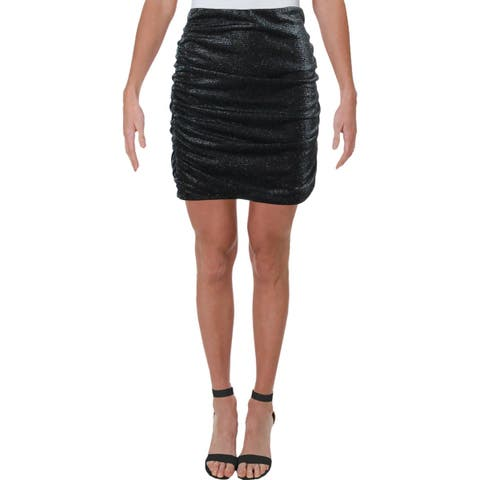 Aqua Womens Mini Skirt Metallic Ruched