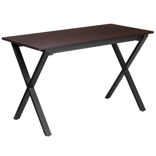 "Delacora FF-NAN-JN-2611-GG 47-1/2"" Wide Metal Framed Wood Top Computer Desk - Brown - n/a"