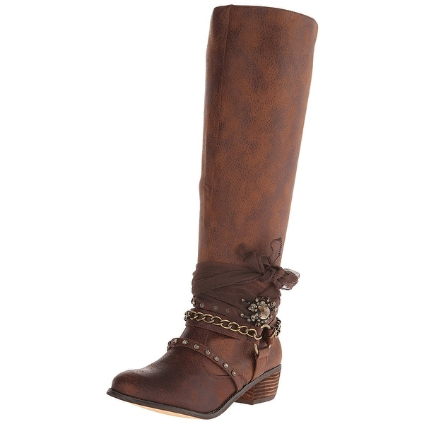 Not Rated Womens Tualamne Almond Toe Knee High Cowboy Boots