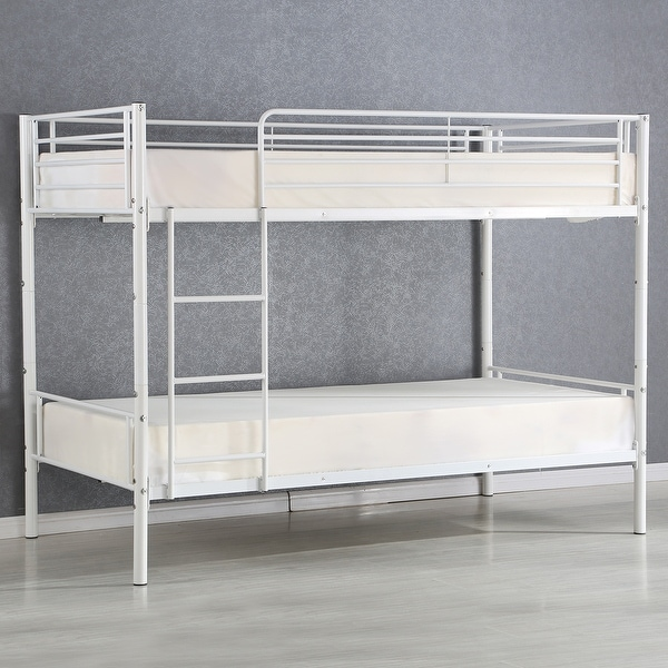 Costway Metal Twin over Twin Bunk Beds Frame Ladder for Children Adult Dorm