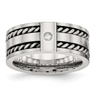 Stainless Steel Antiqued and Brushed with CZ Twisted 9 mm Band Ring - Sizes 8 - 14 (More options available)