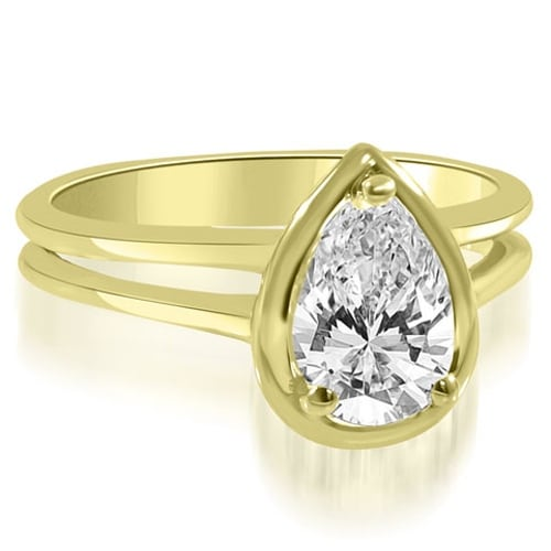 1.00 cttw. 14K Yellow Gold Split Shank Pear Cut Halo Diamond Engagement Ring