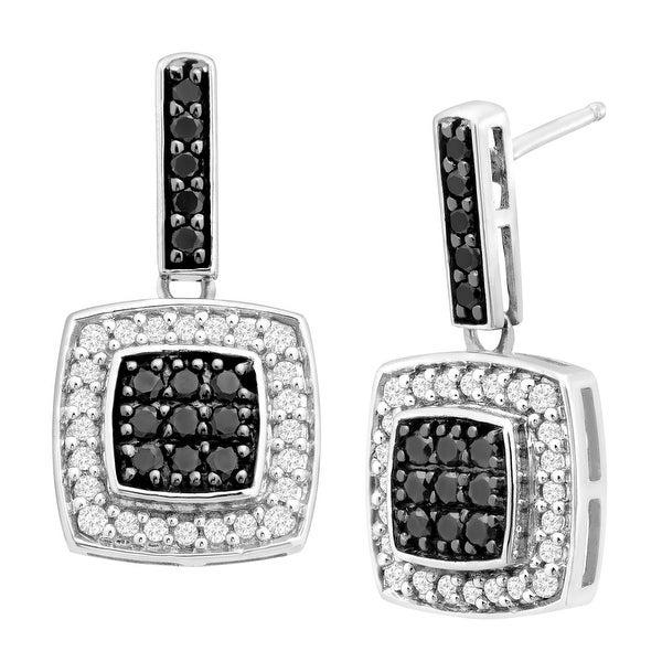 1/2 ct Black & White Diamond Drop Earrings in 14K White Gold