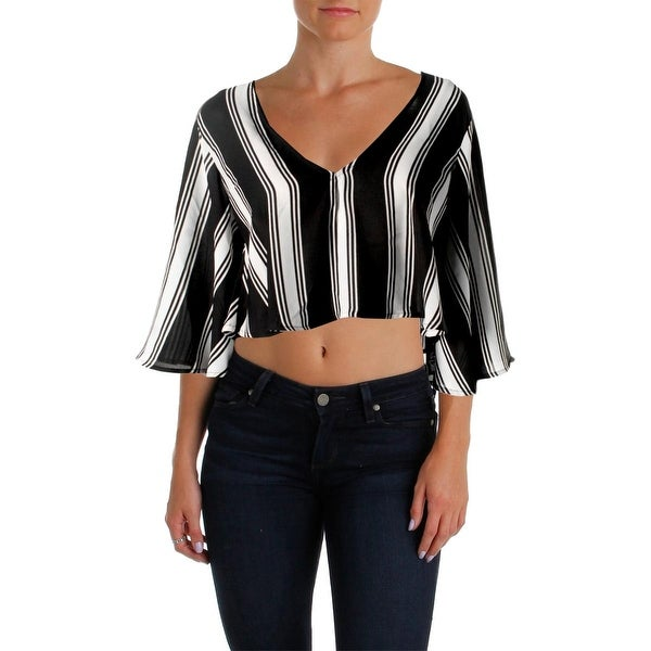 Olivaceous Womens Crop Top Double V 3/4 Sleeves