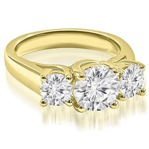 2.00 cttw. 14K Yellow Gold Three-Stone Trellis Round Cut Diamond Engagement Ring