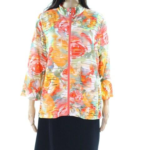 Erin London Orange Womens Size Large L Zip Front Floral-Print Jacket