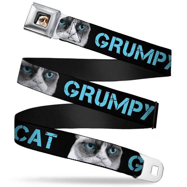 Grumpy Cat Face Full Color Black Grumpy Cat W Face Close Up Black Turquoise Seatbelt Belt
