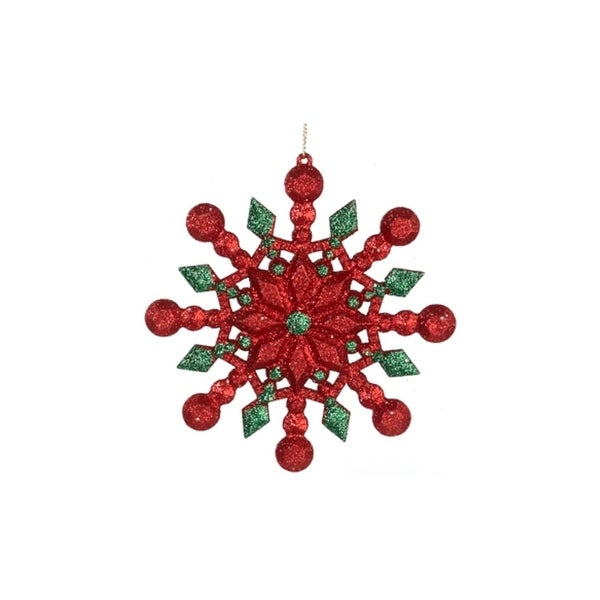 "5"" Festive Red and Green Glitter Eight Pointed Star Snowflake Christmas Ornament"