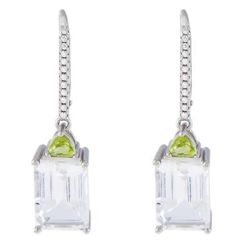 Arkansas Quartz & Arizona Perdiot Drop Earrings, Sterling Silver