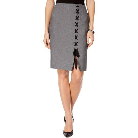Nine West Womens Pencil Skirt Lace-Up Knee-Length