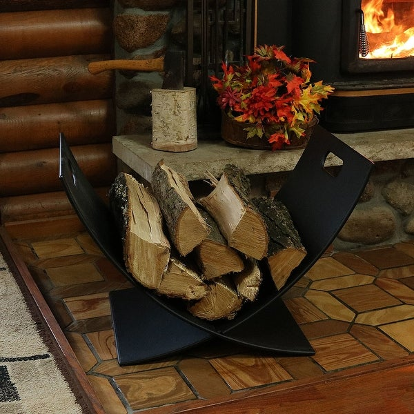 Sunnydaze Small Fireside Firewood Log Holder Caddy Rack Storage Black Steel