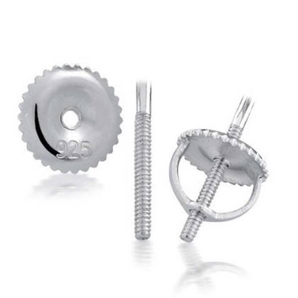 925 Silver Black CZ Round Men/'s Stud Earring 6mm
