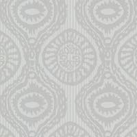 Brewster HZN43034 Marrakech Grey Medallion Stripe Wallpaper - grey medallion stripe