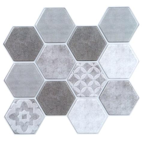 Simplify Peel & Stick Wall Tile 4 Pack in Printed Greys