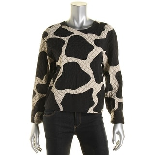 DKNY Womens Silk Quilted Casual Top