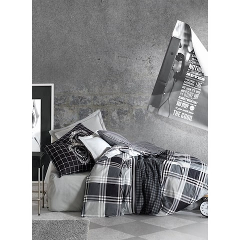SUSSEXHOME Black Imaginations Full Size Duvet Cover Set Anthracite