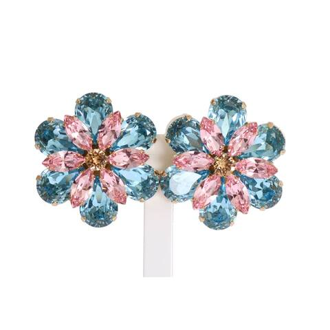 Dolce & Gabbana Gold Brass Floral Crystal Large Clip On Women's Earrings