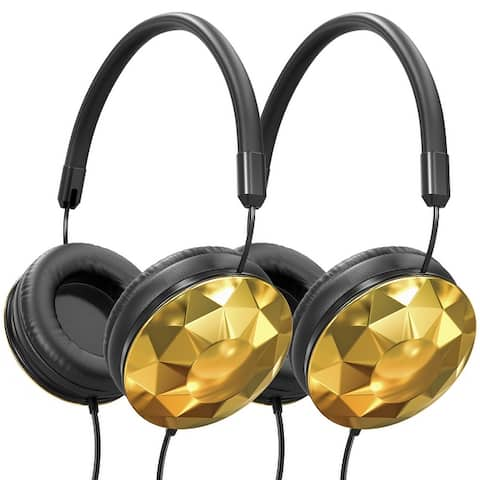 Art & Sound Faceted On-Ear Wired Headphones, Stereo Sound, Foldable & Adjustable - 2 Pack