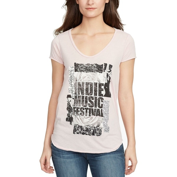 William Rast Pink Women's Size Large L Varsity U-Neck T-Shirt Top