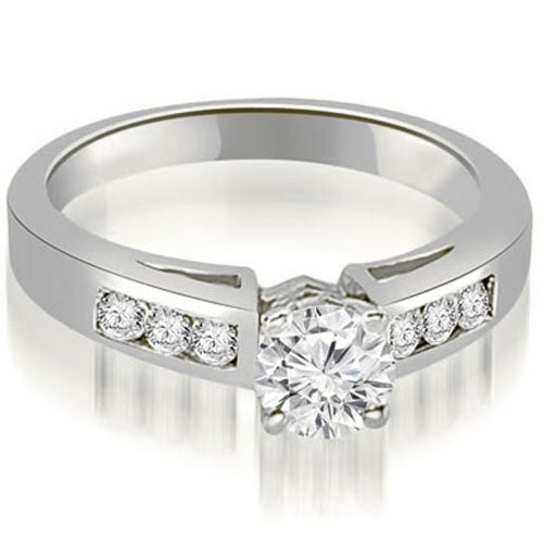 0.70 cttw. 14K White Gold Channel Set Round Cut Diamond Engagement Ring