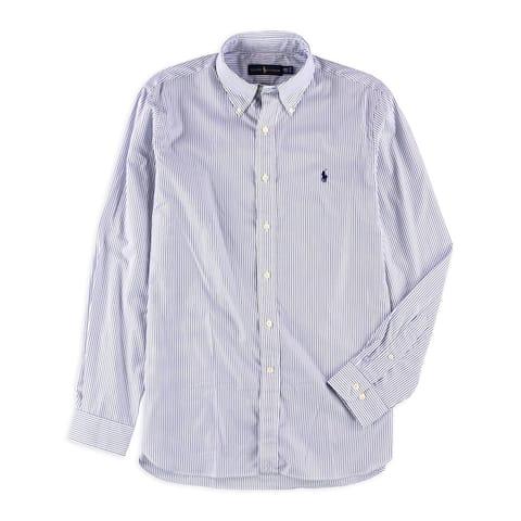 """Ralph Lauren Mens Bengal Stripe Button Up Dress Shirt, blue, 15.5"""" Neck 34""""-35"""" Sleeve - 15.5"""" Neck 34""""-35"""" Sleeve"""