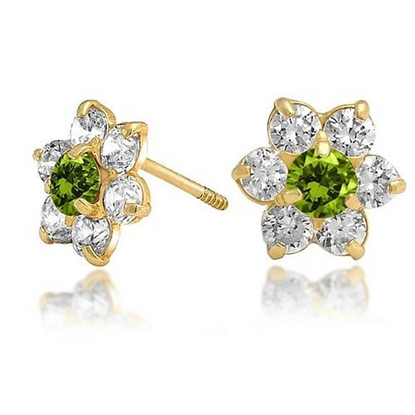 Bling Jewelry Kids 14k Gold Green Cz Back Flower Stud Earrings
