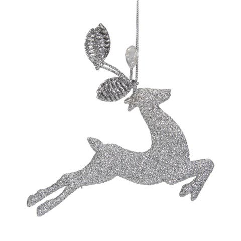 """5.5"""" Silver Glitter Leaping Reindeer Christmas Ornament"""