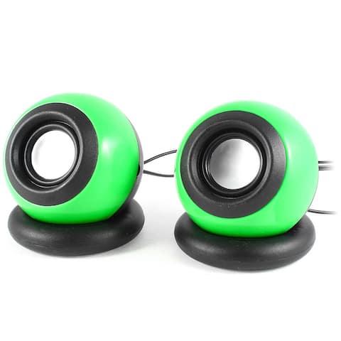 PC DVD Laptop 2.0 Channel USB Mini Speaker Stereo Sound Box 2 Pcs - Green Black