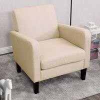 Costway Leisure Arm Chair Accent Single Sofa Fabric Upholstered Living Room Furniture - beige