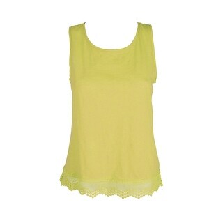Maison Jules Acid Yellow Cotton Crochet-Hem Tank Top XXL