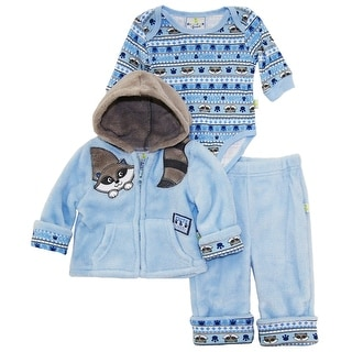 Duck Goose Baby Boys Cute Raccoon Sherpa Jacket Bodysuit 3Pc Pant Set