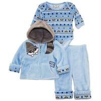 Duck Goose Baby Boys Cute Raccoon Sherpa Jacket Bodysuit 3Pc Pant Set