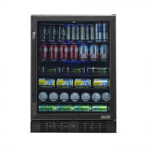 NewAir 177 Can Built-In Refrigerator Beverage Cooler Under Counter Fridge - Black Stainless Steel