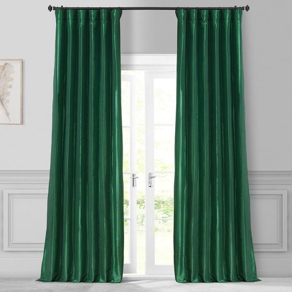 Exclusive Fabrics Emerald Green Faux Silk Taffeta Curtain Panel. Opens flyout.