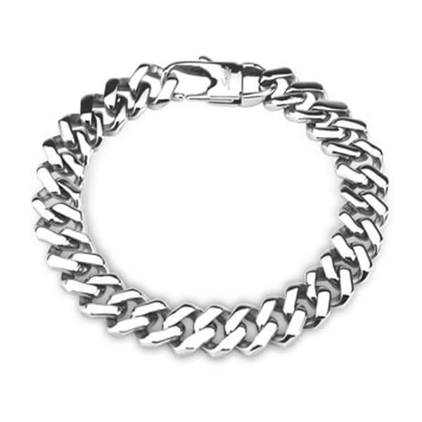 Stainless Steel Chain Bracelet Square Links (11.1 mm) - 8.5 in