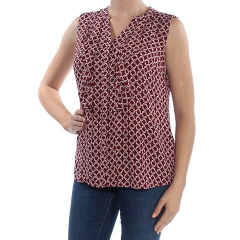 CHARTER CLUB Womens Burgundy Ruffled Printed Sleeveless V Neck Top Size: M