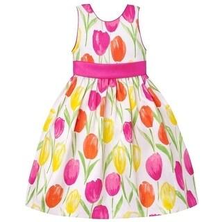 American Princess Girls Pink Coral Floral Print Easter Dress