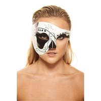 Day of the Dead Black & White Sugar Skull Mask - One Size