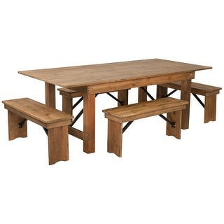 "7' x 40"" Antique Rustic Folding Farm Table and Four Bench Set"