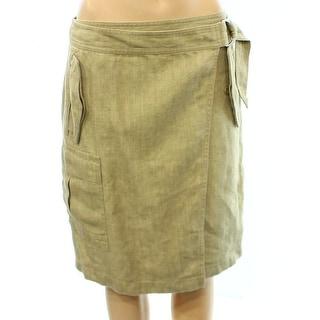 Lauren Ralph Lauren NEW Beige Herrningbone Size 6 Linen Wrap Skirt