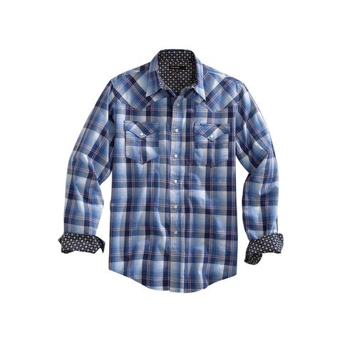 Tin Haul Western Shirt Men L/S Snap Ombre Blue