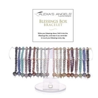 40 Club Pack of Assorted Blessing Box Crystal Bracelets 7""